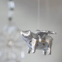 Sterling Silver Flying Pig Ornament