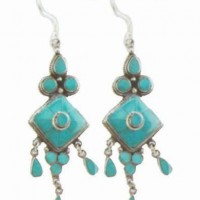 Sterling Silver Nepali Turquoise Earrings