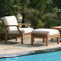 Teak Armchair with Ottoman & Cushions