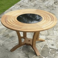 Teak Table with Granite Lazy Susan