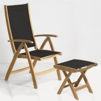 Teak Wood Sling Reclining Chair with Ottoman