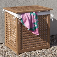 Teak Wood Towel Hamper