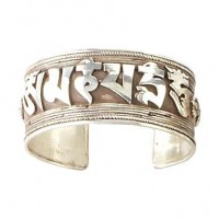 Thick Silver Mantra Cuff, Nepal