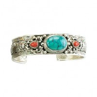 Thin Turquoise & Carnelian Inset Silver Cuff