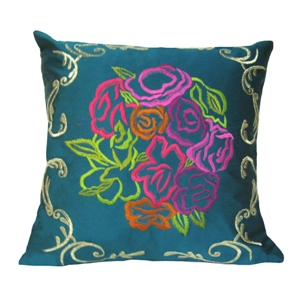 Turquoise Cushion Cover with Embroidery