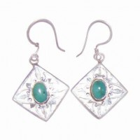 Turquoise Silver Diamond Earrings