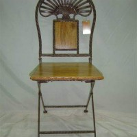 Wrought Iron Folding Chair, square seat