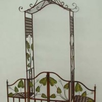 Wrought Iron Trellis, Gate, & Chairs