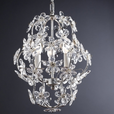 3 Light Chandelier with Crystal Flowers