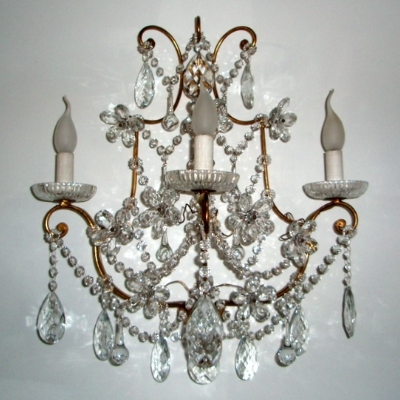3 Light Forged Sconce with Crystals