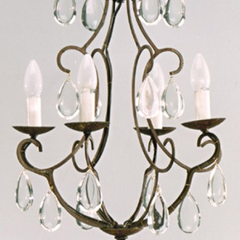 4 Light Bohemian Crystals Chandelier