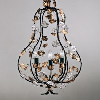 Article 188 3 Light Pear Chandelier with Crystal Flowers