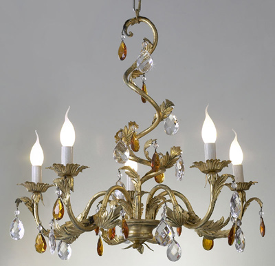 Article 79:5:C Chandelier with Clear and Amber Crystals