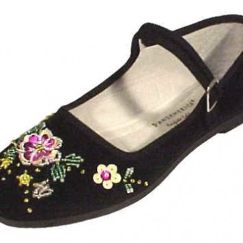 Beaded Cotton Mary Janes