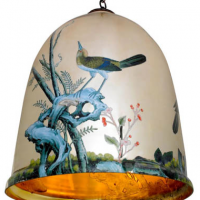 Bell Jar with Birds Suspension 18 inches x 25 inches