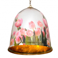 Bell Jar with Tulips Light 18 inches x 25 inches