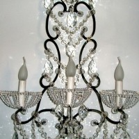 Black Sconce with Clear Crystals