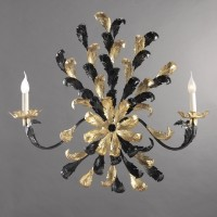 Black and Gold Leaves Sconce