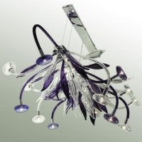 Chandelier Queen 1 Clear and Periwinkle Blue Glass