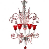 Contemporary Red Outline Murano Chandelier