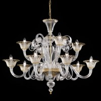 Contemporary Yellow 12 Light Murano Chandelier