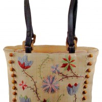 Embroidered Raffia Shoulder Bag
