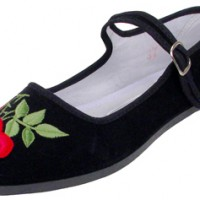 Embroidered Velvet Mary Janes