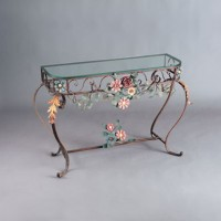 Forged Flower Table with Glasstop