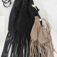 Fringe Suede Drawstring Pouches