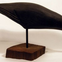 Hand-Carved Crow Decoy, detail