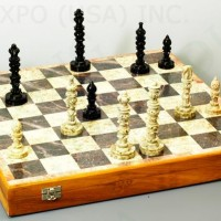 Hand Carved Stone Chess Set 18 inches
