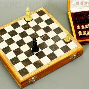 Hand Carved Stone Travel Chess Set 10 inches