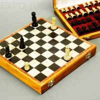 Hand Carved Stone Travel Chess Set 12 inches