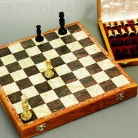 Hand Carved Stone Travel Chess Set 16 inches