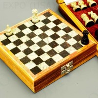 Hand Carved Stone Travel Chess Set 6 inches