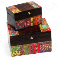 Hand Painted Wood Set:2 Nesting Boxes