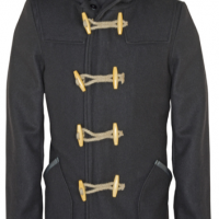 Hooded Wool Jacket with Leather Trim Pockets