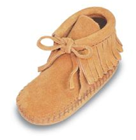 Infant's Leather Fringe Bootie, light tan