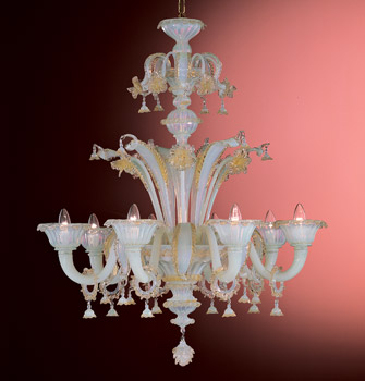 Iridescent Murano Chandelier with Gold Flowers
