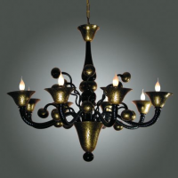 Black & Gold Crackle Murano Chandelier