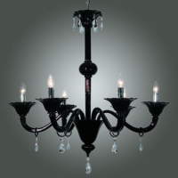 Black Murano Chandelier, clear crystals