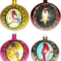 Christmas Birds Painted Ornaments