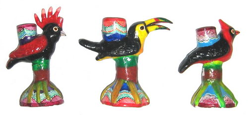 Clay Birds Candle Holder