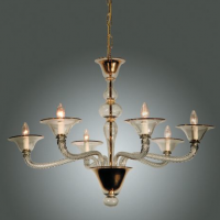 Clear Murano Chandelier with 24k Gold Crystal