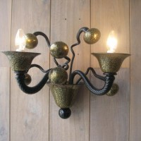 Gold & Black Crackle Sconce