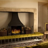 Green Leather Fireplace Fender Bench