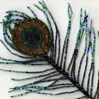 Beaded Peacock Feather, detail