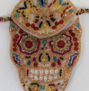 Beaded Skull Purse, detail