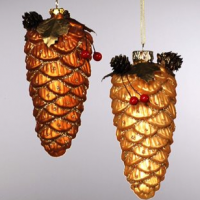Blown Glass Pinecone Ornament