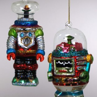 Blown Glass Robot Ornament